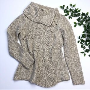 Anthropologie Moth Cowl Neck Sweater Tunic Tan